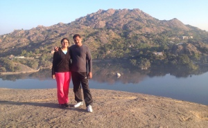 With Daddy Dearest, after a little rock-climbing  @ The Tadpole Rock_Mt. Abu
